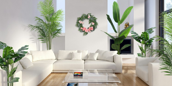 interior design with artificial potted trees